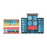 Architecture extérieure de fenêtre de conception de vecteur de restaurant de boutique de façade d'icône de magasin de ville de ru Images stock