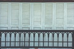 Architecture and exterior design of terrace and window of wooden house in thai style decoration. Selective focus Royalty Free Stock Photo