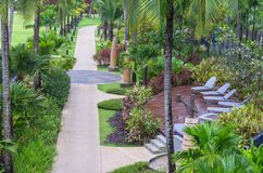 Architecture exterior with walkway in the garden of the SENTIDO Graceland Khao Lak Resort & Spa Royalty Free Stock Image