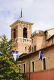 Architecture Fabriano. Typical church architecture of village Fabriano in Italy, Marche stock image