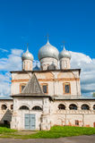 Architecture facade view of old Orthodox cathedral of Our Lady of the Sign in Veliky Novgorod, Russia. Stock Images