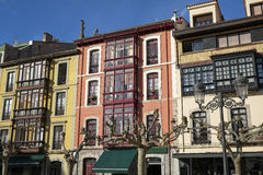 Architecture and facades in Ribadesella. Stock Photo