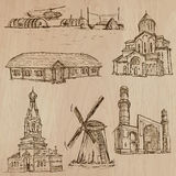 Architecture, Famous places - Hand drawn vectors Royalty Free Stock Photography