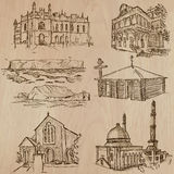 Architecture, Famous places - Hand drawn vectors Stock Photos