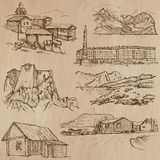 Architecture, Famous places - Hand drawn vectors Royalty Free Stock Image