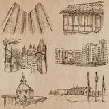 Architecture, Famous places - Hand drawn vectors Stock Image