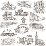Architecture, Faous places - Collection of freehand sketches Stock Images
