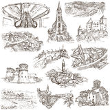 Architecture, Faous places - Collection of freehand sketches Royalty Free Stock Photography