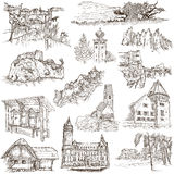 Architecture, Faous places - Collection of freehand sketches Stock Photo
