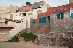 Architecture in fishing village Tifnit , Marocco royalty free stock photography
