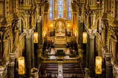Architecture in Fourviere basilica, Lyon, France Stock Image
