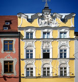 Architecture in Freising, Bavaria, Germany, ancient yellow house Stock Photography