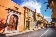 9 9 2016 - Architecture générique dans la vieille ville de Rethymno Photographie stock