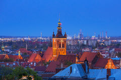 Architecture of Gdansk city centre at night Stock Images