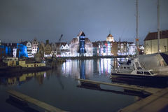 Architecture Gdansk at night. Royalty Free Stock Images