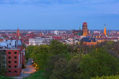 Architecture of Gdansk old town at night Royalty Free Stock Image