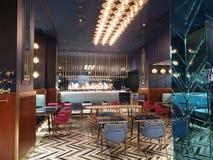 Architecture gentille à la conception moderne de Milan de Di de puits de magasin de chocolat avec des accents d'or image stock