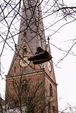 Architecture of Germany. Cityscapes in Hamburg. An old shoes on the tree royalty free stock photography