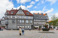Architecture in Goslar, Germany. GOSLAR, GERMANY - MAY 4, 2015: Architecture of the main square in the historic Town of Goslar. Goslar Historic Town is a UNESCO Royalty Free Stock Photography