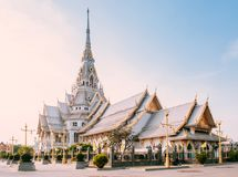 Architecture grande de Wat Sothon Wararam Worawihan, Chachoengsao, Thaïlande images libres de droits