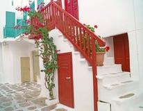 Architecture grecque traditionnelle sur l'île de Mykonos image libre de droits