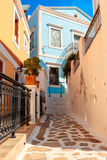 Architecture on the Greek island of Symi. stock photography