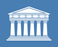 Architecture greek temple icon. Isolated on blue background. Vector illustration flat architecture design. Building ancient monument symbol icon. Column pillar Vector Illustration