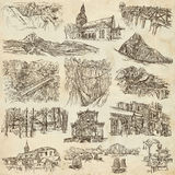 Architecture - An hand drawn, full sized, illustrations on paper Royalty Free Stock Photography