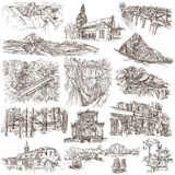 Architecture - An hand drawn, full sized, illustrations on white Stock Image