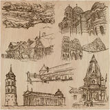 Architecture - an hand drawn vector pack, collection. Royalty Free Stock Photo