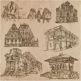 Architecture - an hand drawn vector pack, collection. Stock Images
