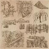 Architecture - an hand drawn vector pack, collection. Royalty Free Stock Photography