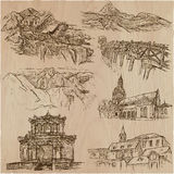 Architecture - an hand drawn vector pack, collection. Stock Photo
