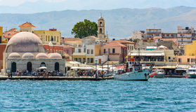 Architecture and harbour of Chania town on Crete island, Greece Stock Image