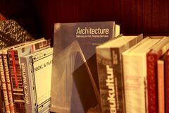 Architecture Hardback Book on Shelf Stock Photos