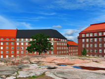 Architecture in Helsinki, Finland. Colorful view of architecture in the Old Town in Helsinki, Finland stock photo