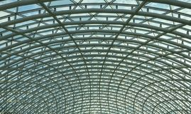 Architecture, hemisphere, metal construction of the glass roof of the shopping center. Architecture, hemisphere, metal construction of the glass roof of the stock photos