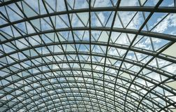 Architecture, hemisphere, metal construction of the glass roof of the shopping center. Architecture, hemisphere, metal construction of the glass roof of the royalty free stock images
