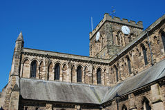 Architecture of Hexham cathedral and clock tower. Architecture of Hexham cathedral and building detail Stock Photos