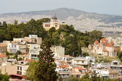Architecture of modern Athens, Greece. Architecture on hillside in modern Athens, Greece Royalty Free Stock Image