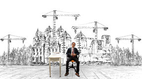Architecture and his project of building construction Royalty Free Stock Images
