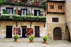 Architecture of the historic town Santillana del Mar situated in Cantabria, Spain. There is an old saying that Santillana del Mar is The Town of Three Lies stock photos