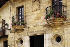 Architecture of the historic town Santillana del Mar situated in Cantabria, Spain. There is an old saying that Santillana del Mar is The Town of Three Lies stock photo