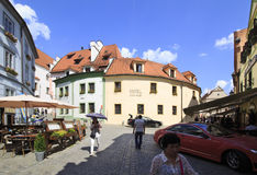 Architecture in historical center of Cesky Krumlov. Royalty Free Stock Image