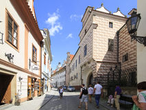 Architecture in historical center of Cesky Krumlov. Stock Photos