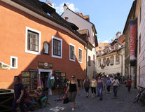 Architecture in historical center of Cesky Krumlov. Stock Images