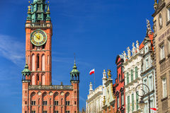 Architecture of historical city hall in Gdansk Stock Images