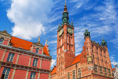 Architecture of historical city hall in Gdansk Stock Photos
