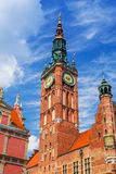 Architecture of historical city hall in Gdansk Royalty Free Stock Image
