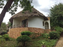 Architecture of the hotel in Zanzibar. Exotic hut in a hotel in Zanzibar Stock Images